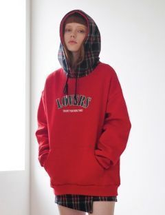 [TARGETTO] LOVERS CHECK HOODIE RED