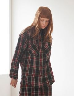 [TARGETTO] FRILL CHECK SHIRT BLACK CHECK