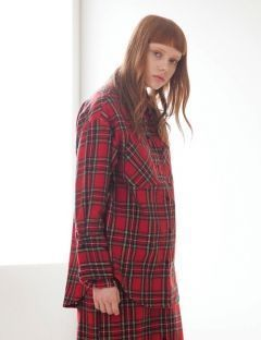 [TARGETTO] FRILL CHECK SHIRT RED CHECK