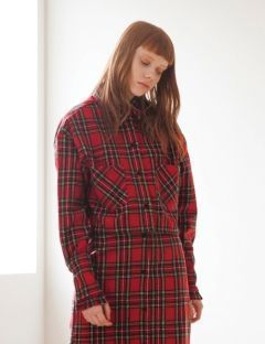 [TARGETTO] FRILL CROP CHECK SHIRT RED CHECK
