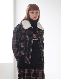 [TARGETTO] FUR COLLAR CHECK BLUSON BLACK CHECK
