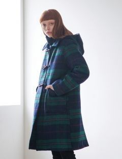 [TARGETTO] CHECK DUFFLE COAT GREEN CHECK