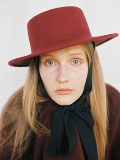 [AWESOME NEEDS] LAMBS WOOL BOATER HAT [BURGUNDY] [face ribbon]