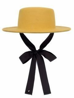 [AWESOME NEEDS] LAMBS WOOL BOATER HAT [MUSTARD] [face ribbon]