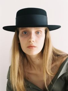 [AWESOME NEEDS] LAMBS WOOL BOATER HAT [BLACK]