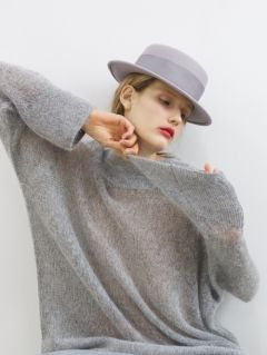 [AWESOME NEEDS] LAMBS WOOL BOATER HAT [GREY]
