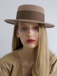 [AWESOME NEEDS] LAMBS WOOL BOATER HAT [BROWN]