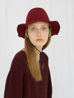 [AWESOME NEEDS] LAMBS WOOL NEW FEDORA HAT [BURGUNDY-string]