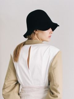 [AWESOME NEEDS] LAMBS WOOL ROUND BUCKET HAT [BLACK]