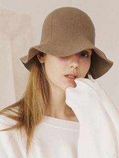 [AWESOME NEEDS] LAMBS WOOL ROUND BUCKET HAT [BROWN]
