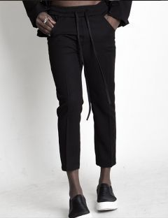[BLESSED BULLET] BAND&STRING CROPPED SLIM SLACKS
