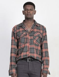[BLESSED BULLET] B0973 ORANGE CHECK SHIRTS