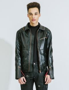 [DOZOH] BORN ZIP DETAILED LAMBS LEATHER JACKET