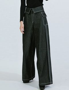 [DOZOH] BLACK HIGH WAISTED WIDE JEAN