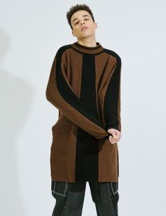 [DOZOH] BROWN & BLACK LAMBSWOOL LONG KNIT