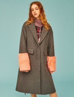 [EYEYE] FUR COMBINATION WOOL COAT [D/GRAY] [EEOE4CTL01W]