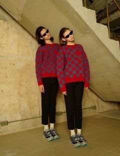 [VEI8] [UNISEX] CHECKERBOARD WOOL KNIT [RED]