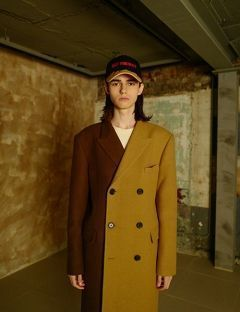 [VEI8] [UNISEX] MIXED DOUBLE BREASTED COAT [BROWN]