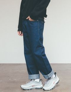 [UNIISDESIGN] RELAX FIT DENIM PANTS [Dark Blue]