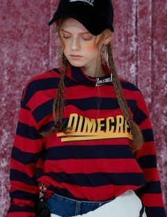 [DIM.E CRES.] DIM. STRIPE TURTLE NECK_RED
