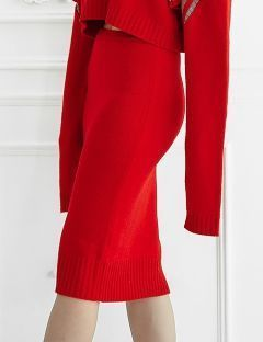 [ulkin] UL:KIN COLLECTION LABEL_BASIC KNIT LONG SKIRT [RED]