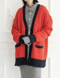 [ulkin] UL:KIN COLLECTION LABEL_WAFFLE STITCH KNIT CARDIGAN [ORANGE]