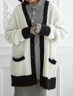 [ulkin] UL:KIN COLLECTION LABEL_WAFFLE STITCH KNIT CARDIGAN [IVORY]