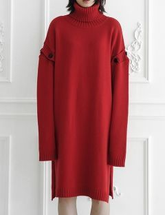 [ulkin] UL:KIN COLLECTION LABEL_BUTTON SLEEVE TURTLENECK KNIT DRESS [RED]