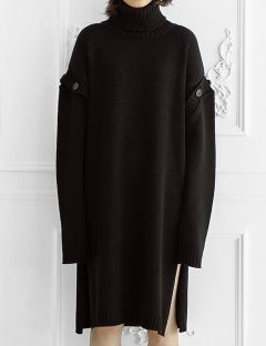 [ulkin] UL:KIN COLLECTION LABEL_BUTTON SLEEVE TURTLENECK KNIT DRESS [BLACK]