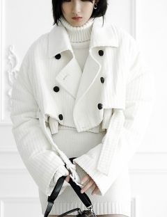 [ulkin] UL:KIN COLLECTION LABEL_CORDUROY PADDED CROPPED COAT [WHITE]