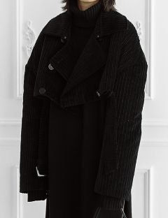 [ulkin] UL:KIN COLLECTION LABEL_CORDUROY PADDED CROPPED COAT [BLACK]