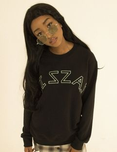 [ZISZAS] Logo SWEAT SHIRT Black
