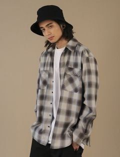 [ZISZAS] DOUBLE POCKET Check Shirts Brown