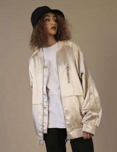 [ZISZAS] Tow Way Zipper Suka Jacket Beige