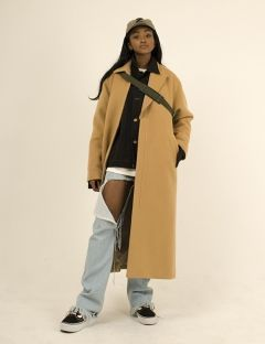 [ZISZAS] Unbalance Collar Tow Way Zipper Coats Beige