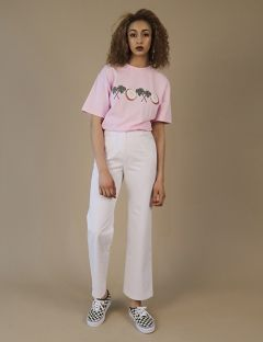 [ZISZAS] high waist pants White