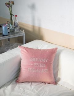 [HOMMMIE] CALF SKIN EMBROIDERY CUSHION [PINK]