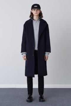 [CHUCK] FW17 OVER FIT LONG COAT [NAVY]