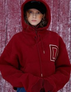 [DIM.E CRES.] D PATCH CROP HOODIE_RED