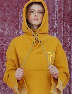 [DIM.E CRES.] D PATCH CROP HOODIE_YELLOW