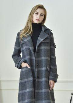 [MONICA&MOBLINE] Check Patterned Single Coat
