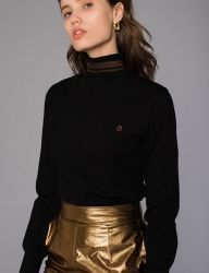 [DIAGONAL] GLITTER POLO NECK KNIT