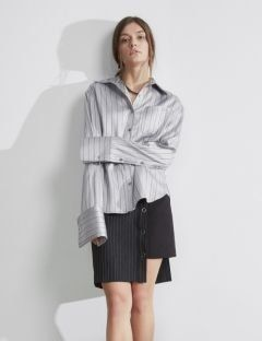 [S.Y.LEE] 17 A/W FRENCH CUFFS STRIPE SHIRTS [silver]