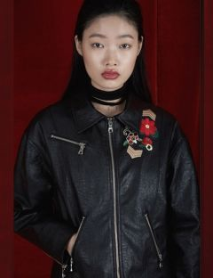 [RALMODE] FLOWER LEATHER JACKET [BLACK]