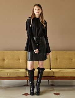 [INES] A-LINE LEATHER SKIRT [BLACK]