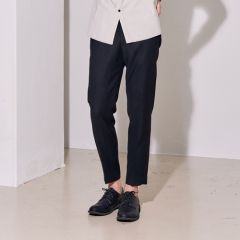 [lirik] WOOL SILK DRAWSTRING BANDING TAPERED PANTS