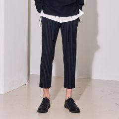 [lirik] WOOL STRIPED DRAWSTRING BANDING TAPERED PANTS