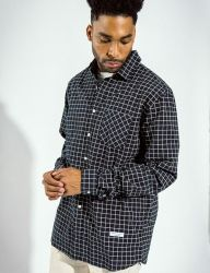 [QT8] MK Window Check Shirt [Navy]
