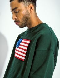 [QT8] MK USA Sweat Shirt [Dark Green]