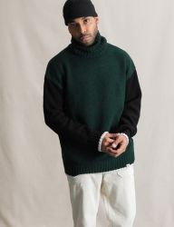 [QT8] MK Turtle Neck Sweater [Green/Black]